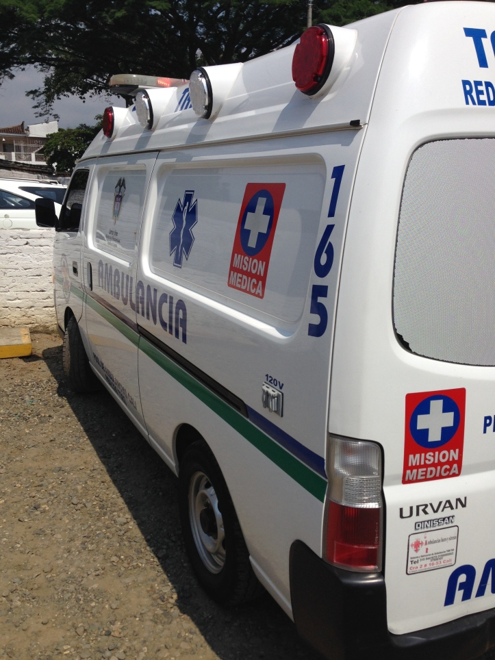 An ambulance at the Colombian hospital.  Photo by Michael Menconi.