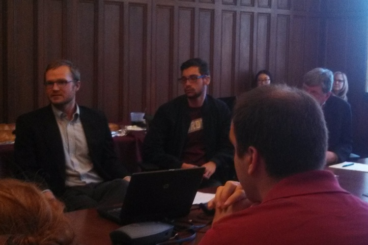 Joseph Vukov (left) discusses perspectives on moral worth on April 15, 2015