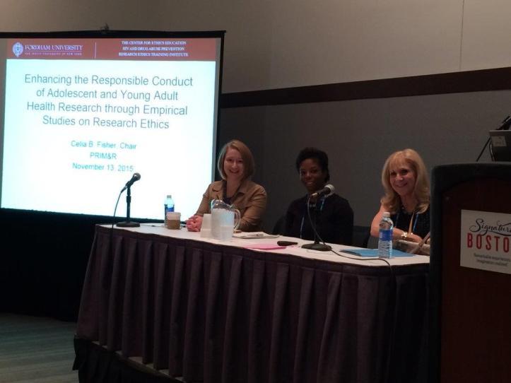 Dr. Erin Bonar, Dr. Faith Fletcher, and Dr. Celia B. Fisher at the PRIM&R Annual Meeting 2015. Photo courtesy Sue Fish